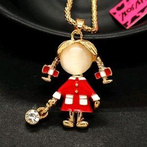 Betsey Johnson Cute Girl Pendant Necklace